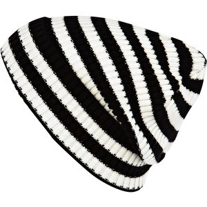 Black and White Striped Beanie