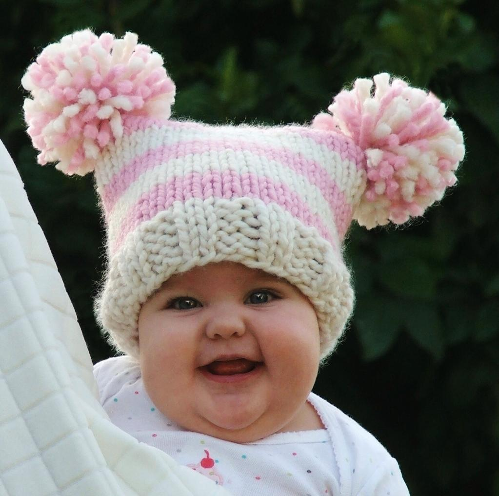 "Those of you who follow this blog are probably thinking, ""This hat looks familiar."" If so, then you are right! Several months ago I knitted this same exact hat for my friend Meagan but without the pom pom."