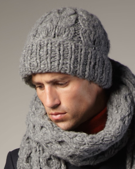 Knitting Patterns for Men. Our men's knitting patterns show that knits can be macho. We have thick, practical sweaters, modern scarves, and simple waistcoats. Perfect for male knitters making something for themselves, or for the ladies to create something for the men in their lives. Men's Basic Hat and Scarf Set in Caron Simply Soft 95%(K).