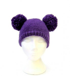 Purple Beanie with Pom Pom