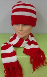 Red and White Striped Beanie
