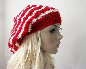 Red and White Striped Beanie Hat