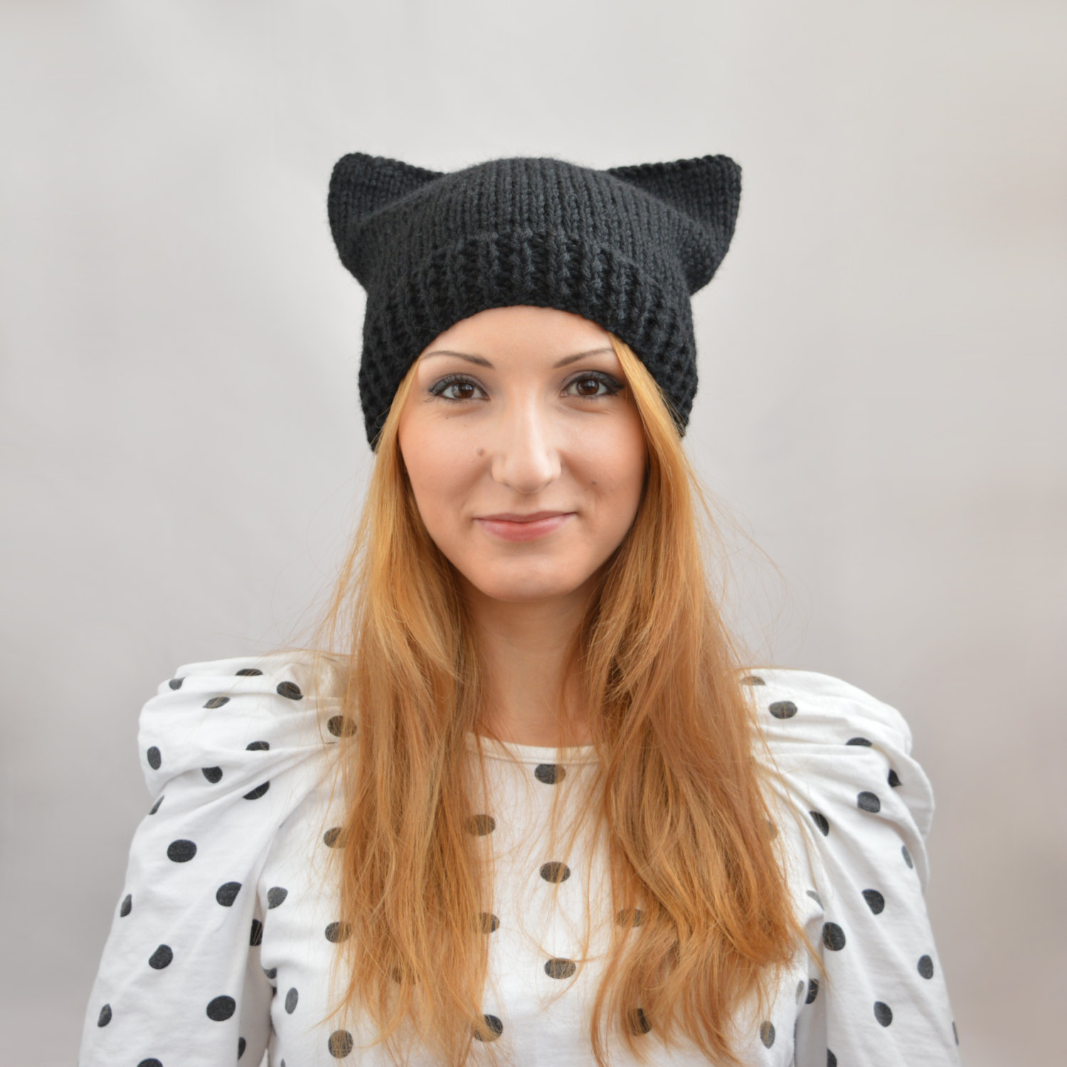 Knitting Pattern For Kitty Hat : Cat Ear Beanie Beanie Ville