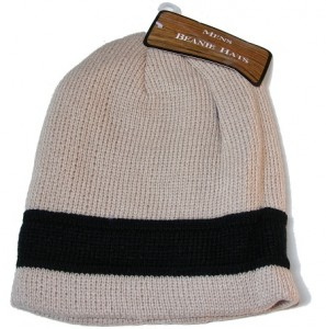 Mens Cream Beanie Hat