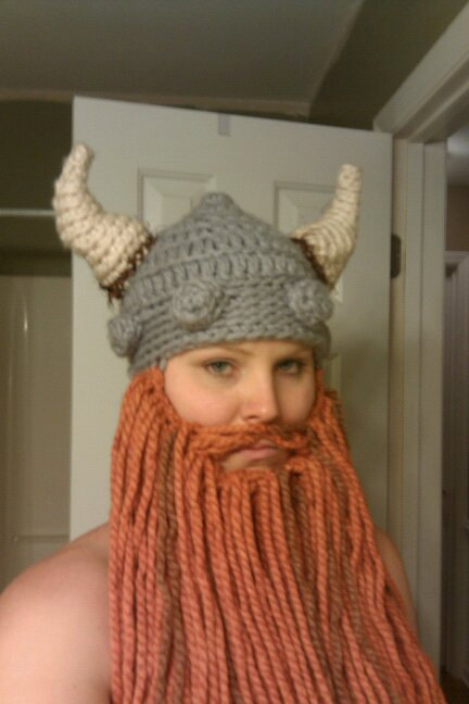 Quite Nice A4b66 Fb494 Womens Knitted Viking Helmet And Beard f25842e3b46